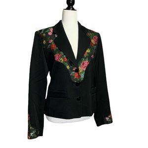 🦄 Rare Vtg Kenzo Jungle Floral Embroidered Blazer
